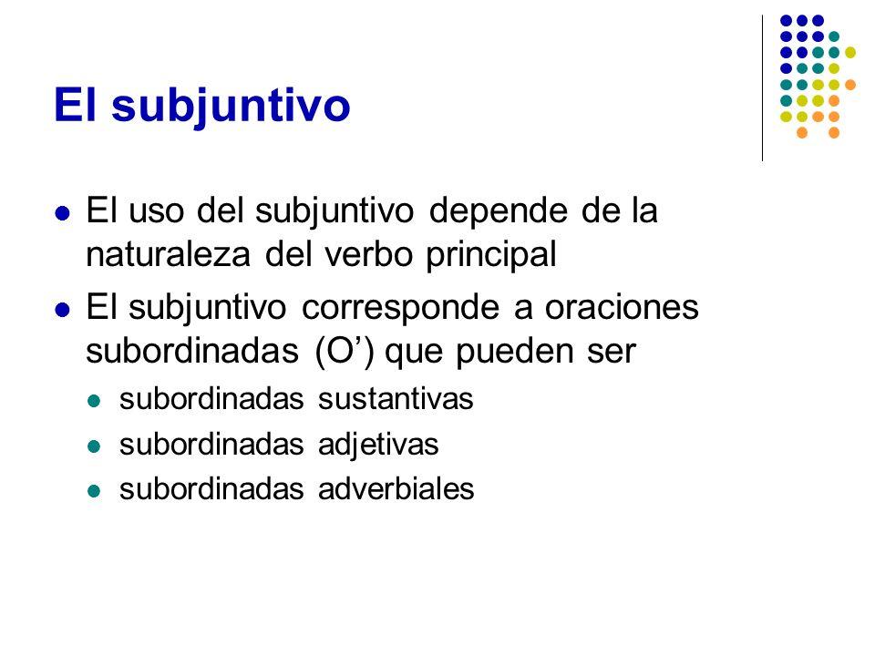El subjuntivo El uso del subjuntivo depende de la naturaleza del verbo principal El subjuntivo corresponde a oraciones subordinadas (O) que pueden ser