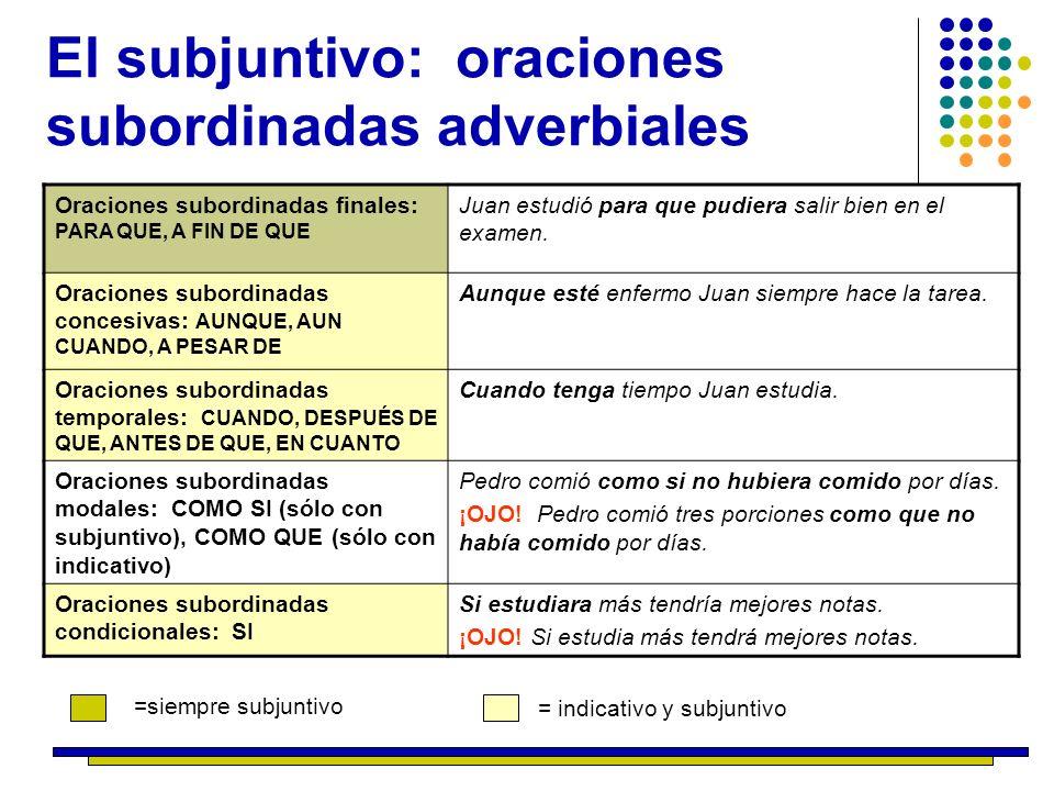 El subjuntivo: oraciones subordinadas adverbiales Oraciones subordinadas finales: PARA QUE, A FIN DE QUE Juan estudió para que pudiera salir bien en e