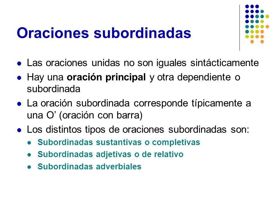 Oraciones subordinadas Las oraciones unidas no son iguales sintácticamente Hay una oración principal y otra dependiente o subordinada La oración subor