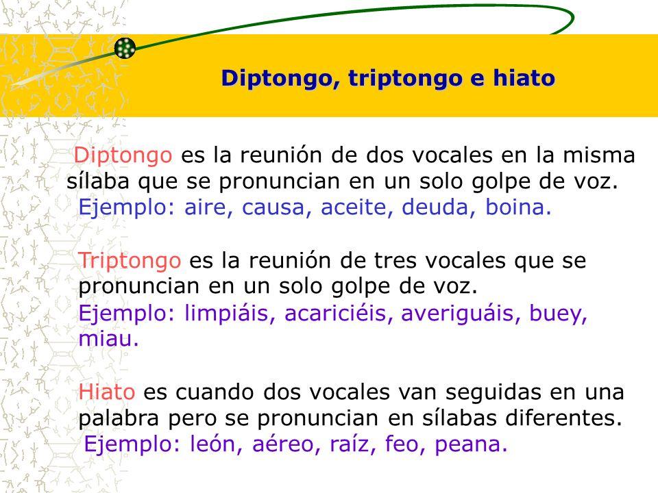Diptongo es la reunión de dos vocales en la misma sílaba que se pronuncian en un solo golpe de voz. Ejemplo: aire, causa, aceite, deuda, boina. Tripto