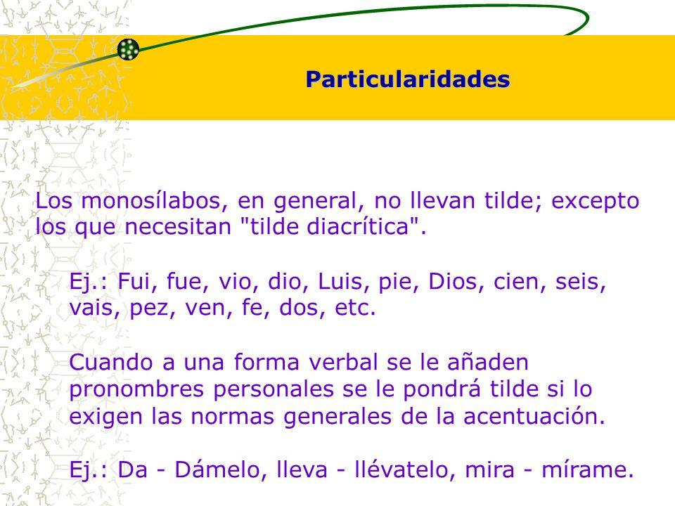 Los monosílabos, en general, no llevan tilde; excepto los que necesitan