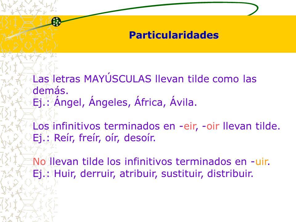 Las letras MAYÚSCULAS llevan tilde como las demás. Ej.: Ángel, Ángeles, África, Ávila. Los infinitivos terminados en -eir, -oir llevan tilde. Ej.: Reí