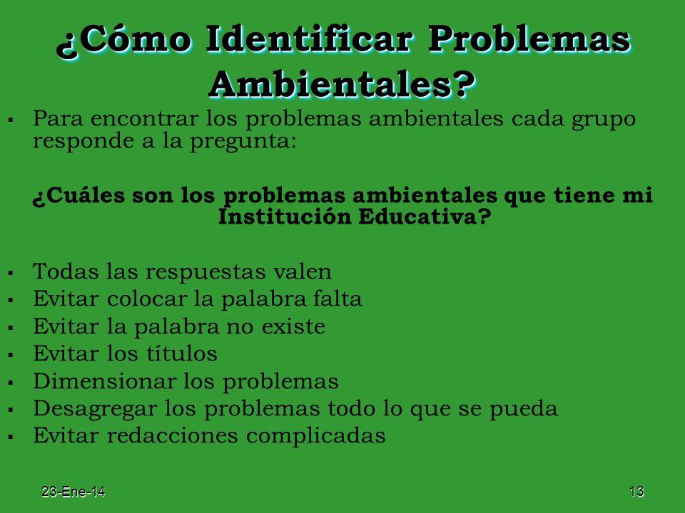 23-Ene-1413 ¿Cómo Identificar Problemas Ambientales? Para encontrar los problemas ambientales cada grupo responde a la pregunta: ¿Cuáles son los probl