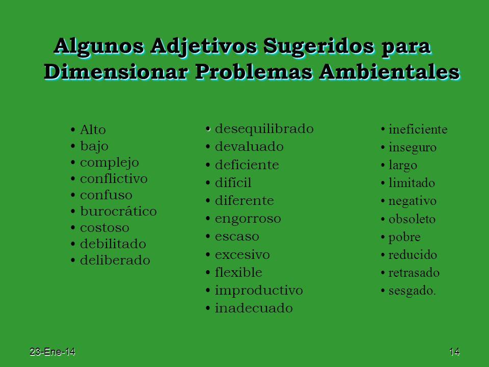23-Ene-1414 Algunos Adjetivos Sugeridos para Dimensionar Problemas Ambientales desequilibrado devaluado deficiente difícil diferente engorroso escaso
