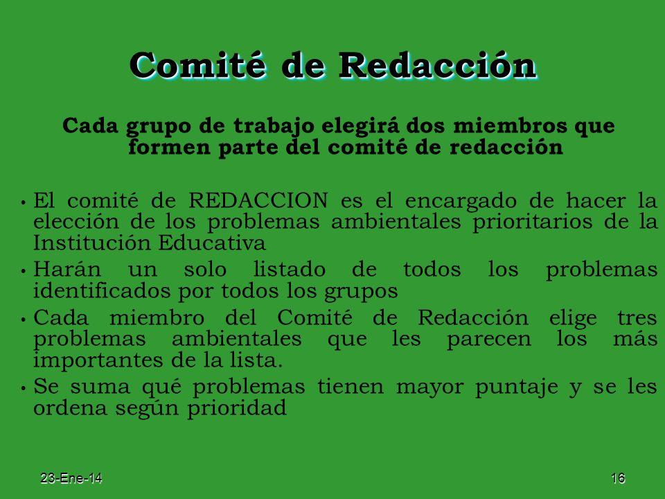 23-Ene-1416 Comité de Redacción Cada grupo de trabajo elegirá dos miembros que formen parte del comité de redacción El comité de REDACCION es el encar