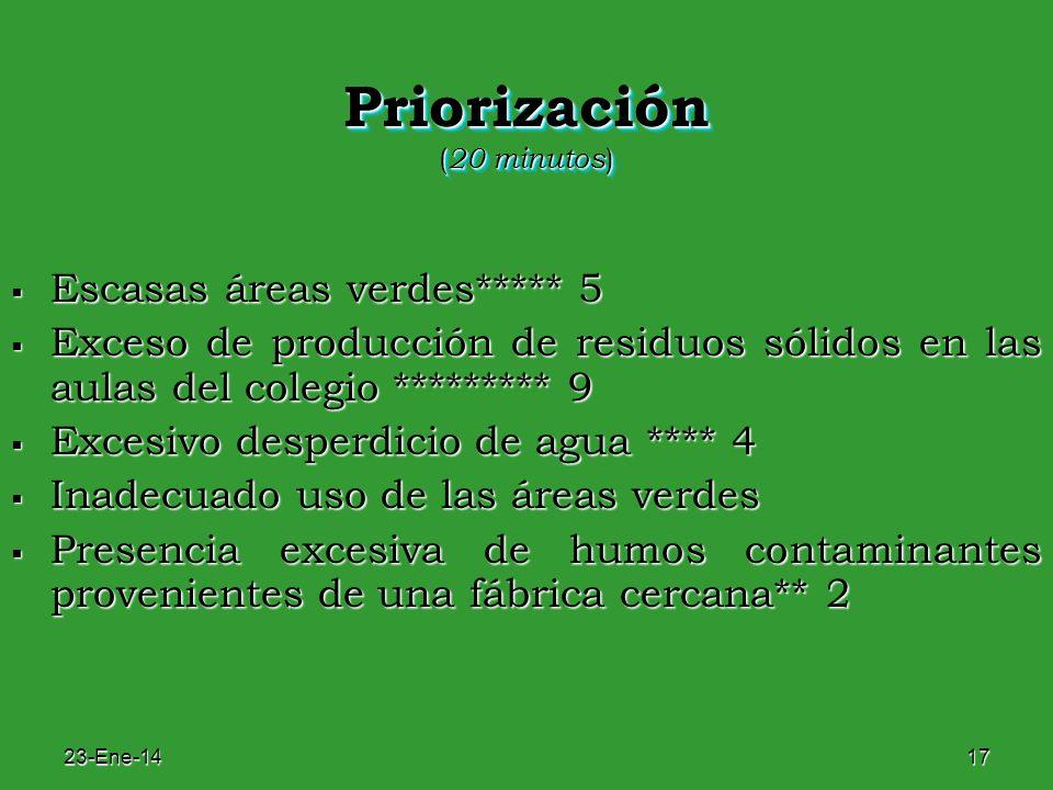 23-Ene-1417 Priorización ( 20 minutos ) Escasas áreas verdes***** 5 Escasas áreas verdes***** 5 Exceso de producción de residuos sólidos en las aulas