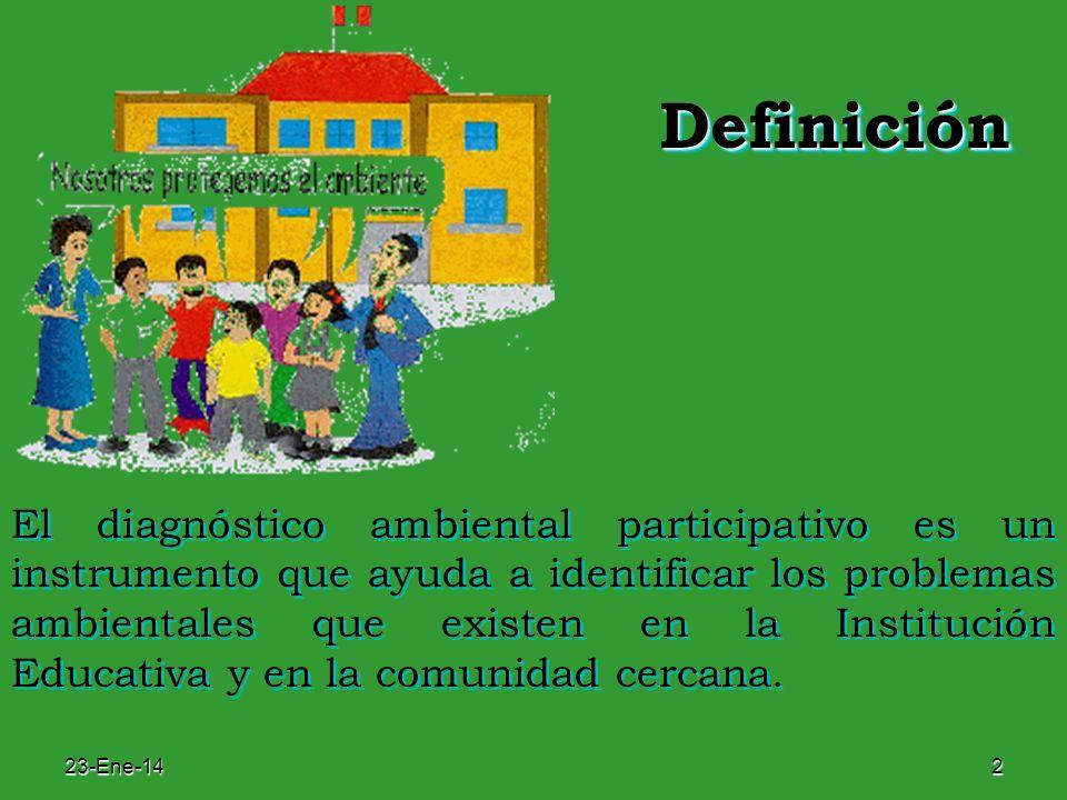 23-Ene-142 DefiniciónDefinición El diagnóstico ambiental participativo es un instrumento que ayuda a identificar los problemas ambientales que existen