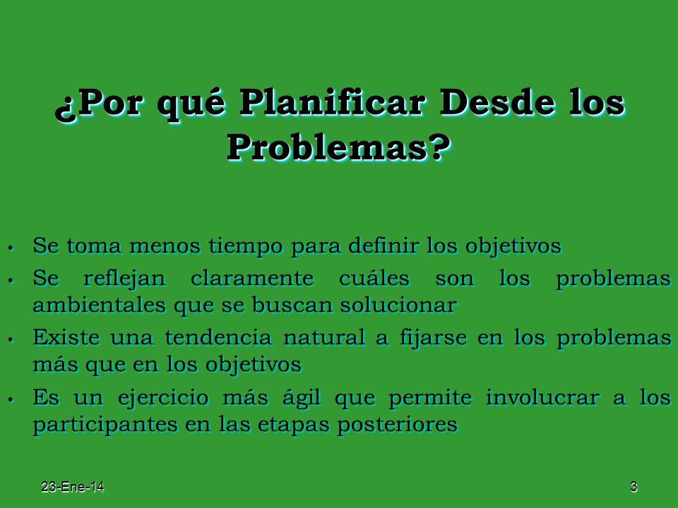 23-Ene-143 ¿Por qué Planificar Desde los Problemas? Se toma menos tiempo para definir los objetivos Se reflejan claramente cuáles son los problemas am