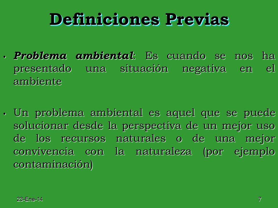 23-Ene-147 Definiciones Previas Problema ambiental : Es cuando se nos ha presentado una situación negativa en el ambiente Problema ambiental : Es cuan