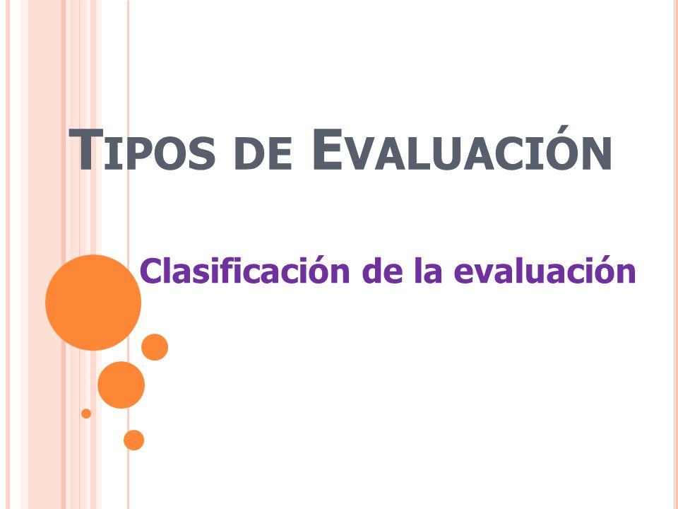T IPOS DE E VALUACIÓN Clasificación de la evaluación