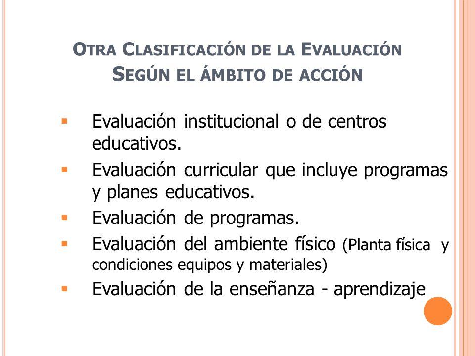 O TRA C LASIFICACIÓN DE LA E VALUACIÓN S EGÚN EL ÁMBITO DE ACCIÓN Evaluación institucional o de centros educativos. Evaluación curricular que incluye