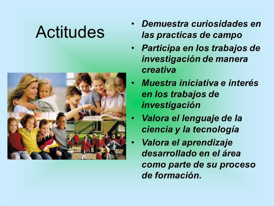 Actitudes Demuestra curiosidades en las practicas de campo Participa en los trabajos de investigación de manera creativa Muestra iniciativa e interés
