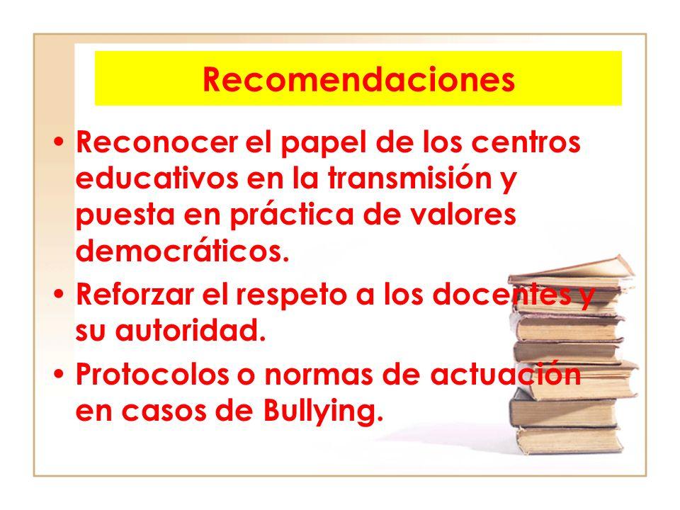 Recomendaciones Reconocer el papel de los centros educativos en la transmisión y puesta en práctica de valores democráticos. Reforzar el respeto a los