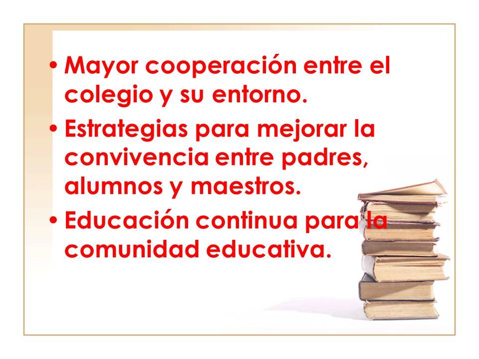 Mayor cooperación entre el colegio y su entorno. Estrategias para mejorar la convivencia entre padres, alumnos y maestros. Educación continua para la