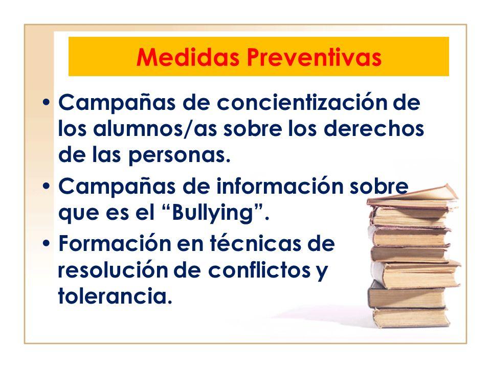 Medidas Preventivas Campañas de concientización de los alumnos/as sobre los derechos de las personas. Campañas de información sobre que es el Bullying