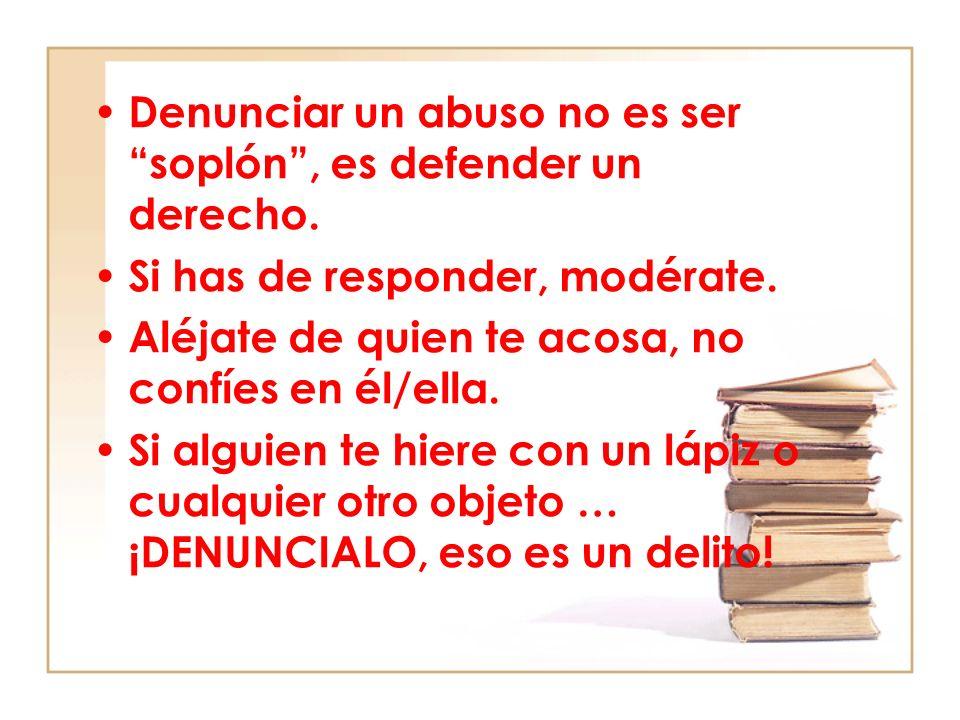 Consejos para los padres del maltratador/ora Acepten con responsabilidad las acciones de su hijo/a.