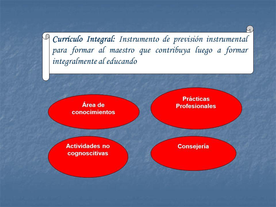 Currículo Integral: Instrumento de previsión instrumental para formar al maestro que contribuya luego a formar integralmente al educando Área de conoc