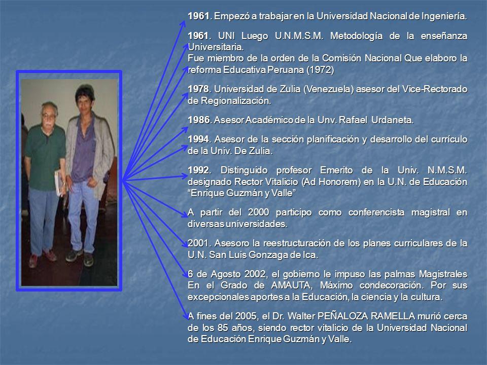 1961. Empezó a trabajar en la Universidad Nacional de Ingeniería. 1961. UNI Luego U.N.M.S.M. Metodología de la enseñanza Universitaria. Fue miembro de