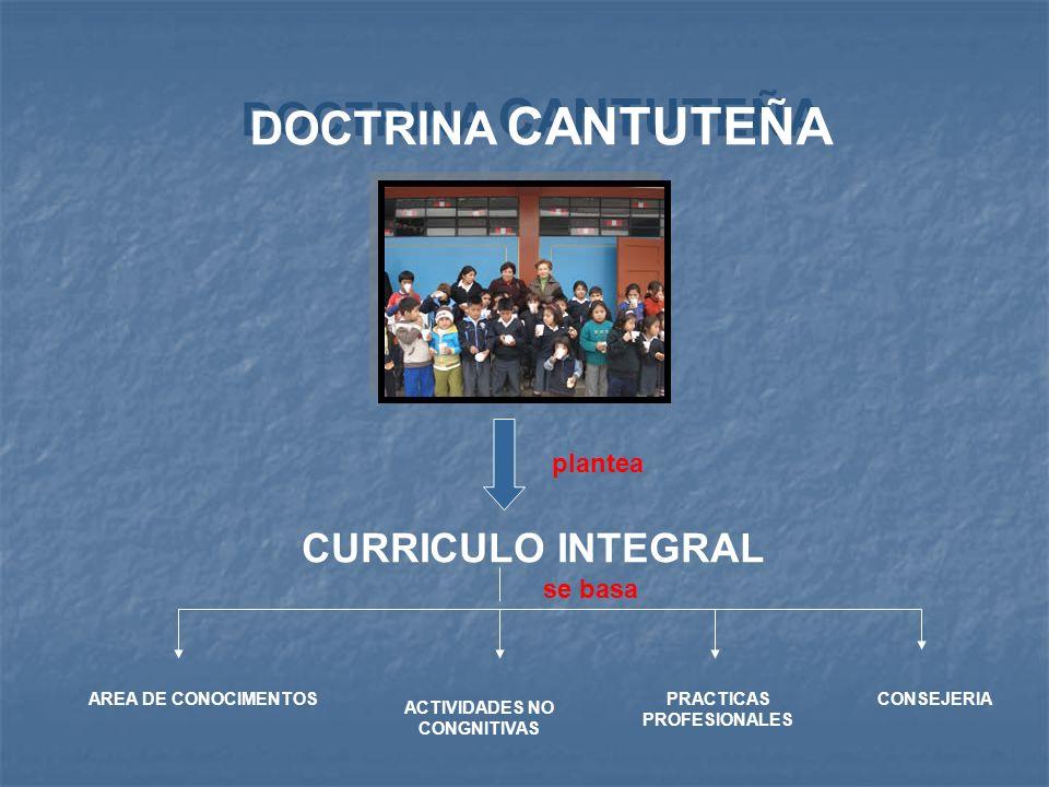 DOCTRINA CANTUTEÑA plantea CURRICULO INTEGRAL se basa AREA DE CONOCIMENTOS ACTIVIDADES NO CONGNITIVAS PRACTICAS PROFESIONALES CONSEJERIA