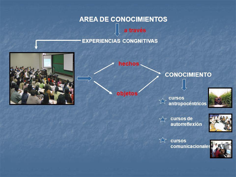 AREA DE CONOCIMIENTOS a través EXPERIENCIAS CONGNITIVAS hechos objetos CONOCIMIENTO cursos antropocéntricos cursos de autorreflexión cursos comunicaci