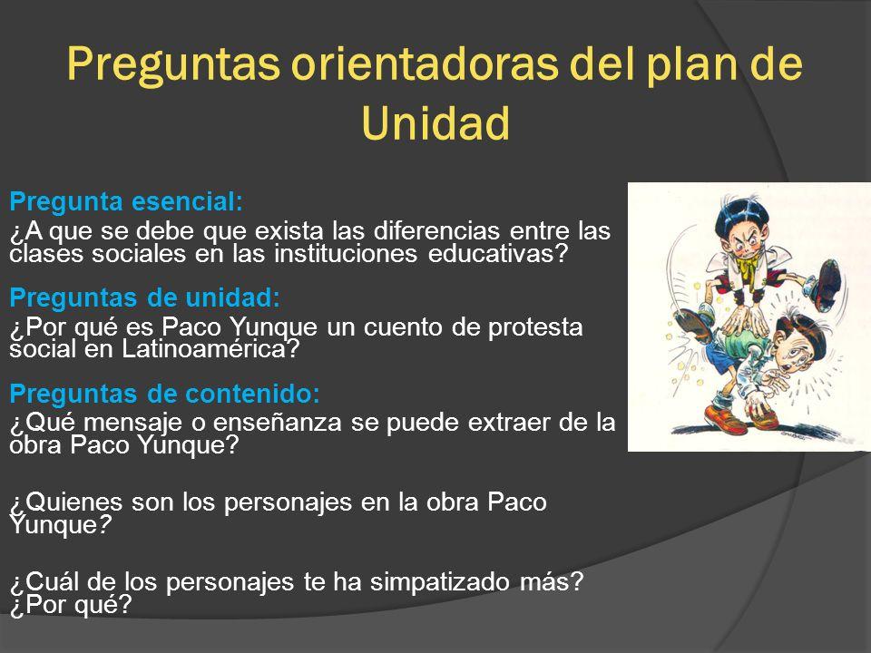 Preguntas orientadoras del plan de Unidad Pregunta esencial: ¿A que se debe que exista las diferencias entre las clases sociales en las instituciones