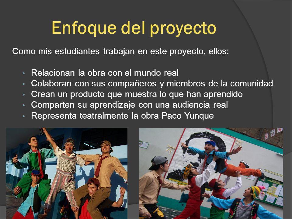 Enfoque del proyecto Como mis estudiantes trabajan en este proyecto, ellos: Relacionan la obra con el mundo real Colaboran con sus compañeros y miembr