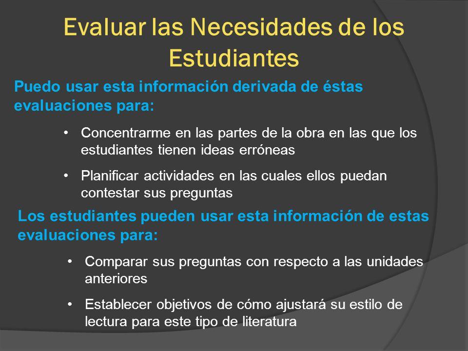 Evaluar las Necesidades de los Estudiantes Puedo usar esta información derivada de éstas evaluaciones para: Concentrarme en las partes de la obra en l