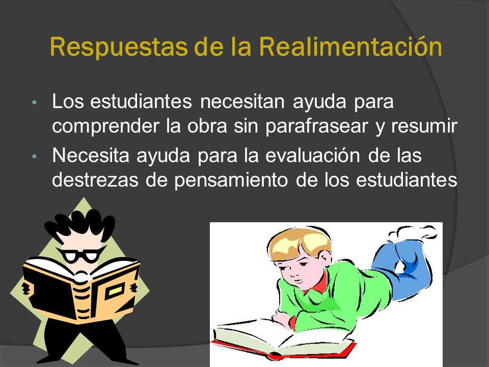 Respuestas de la Realimentación Los estudiantes necesitan ayuda para comprender la obra sin parafrasear y resumir Necesita ayuda para la evaluación de