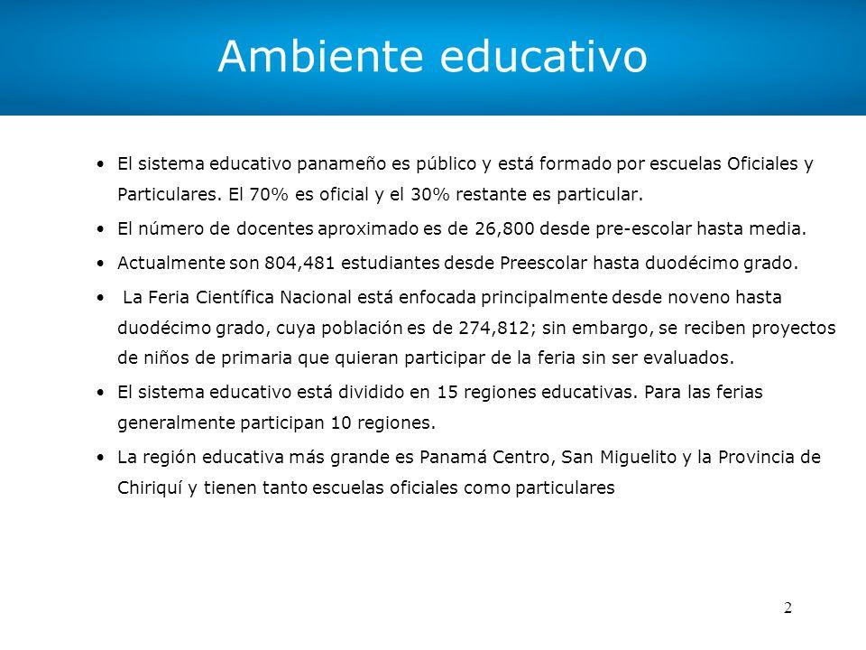 2 Ambiente educativo El sistema educativo panameño es público y está formado por escuelas Oficiales y Particulares. El 70% es oficial y el 30% restant