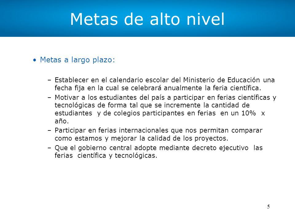 5 Metas de alto nivel Metas a largo plazo: –Establecer en el calendario escolar del Ministerio de Educación una fecha fija en la cual se celebrará anu