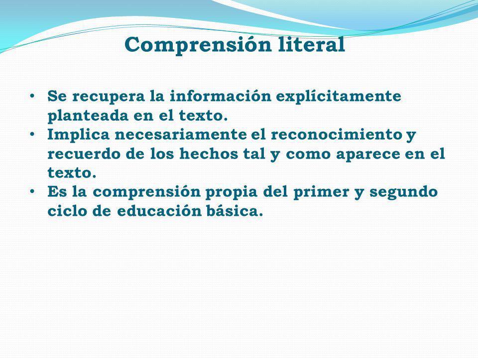 Se recupera la información explícitamente planteada en el texto. Implica necesariamente el reconocimiento y recuerdo de los hechos tal y como aparece