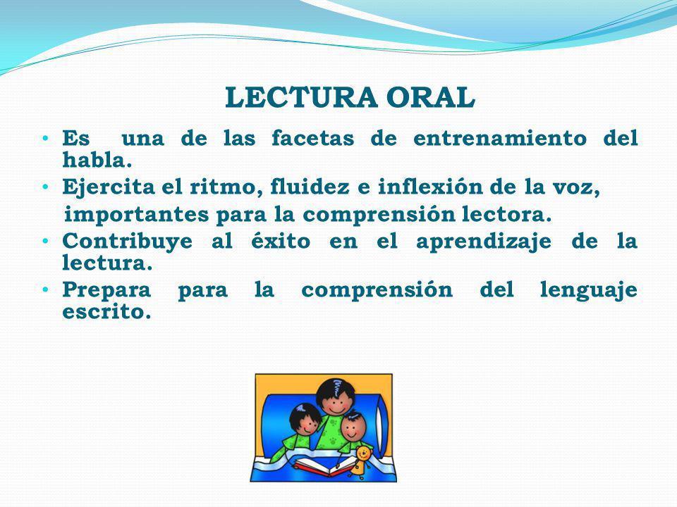 LECTURA ORAL Es una de las facetas de entrenamiento del habla. Ejercita el ritmo, fluidez e inflexión de la voz, importantes para la comprensión lecto
