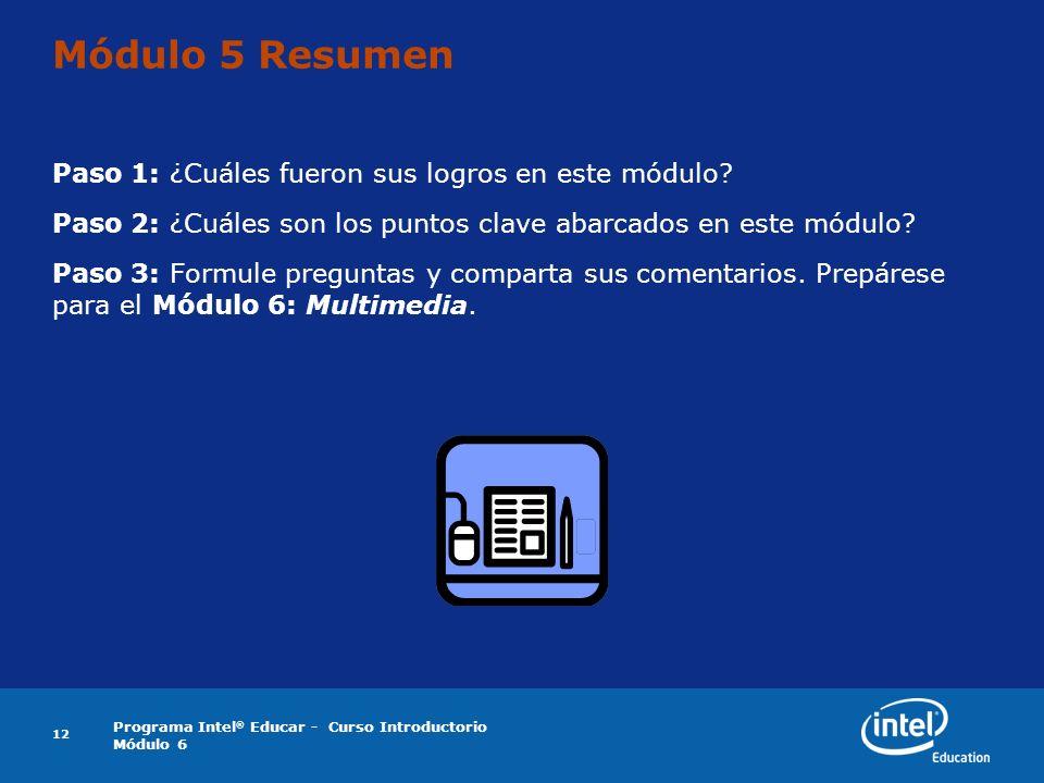 Programa Intel ® Educar - Curso Introductorio Módulo 6 12 Módulo 5 Resumen Paso 1: ¿Cuáles fueron sus logros en este módulo? Paso 2: ¿Cuáles son los p