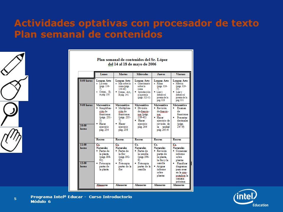 Programa Intel ® Educar - Curso Introductorio Módulo 6 5 Actividades optativas con procesador de texto Plan semanal de contenidos