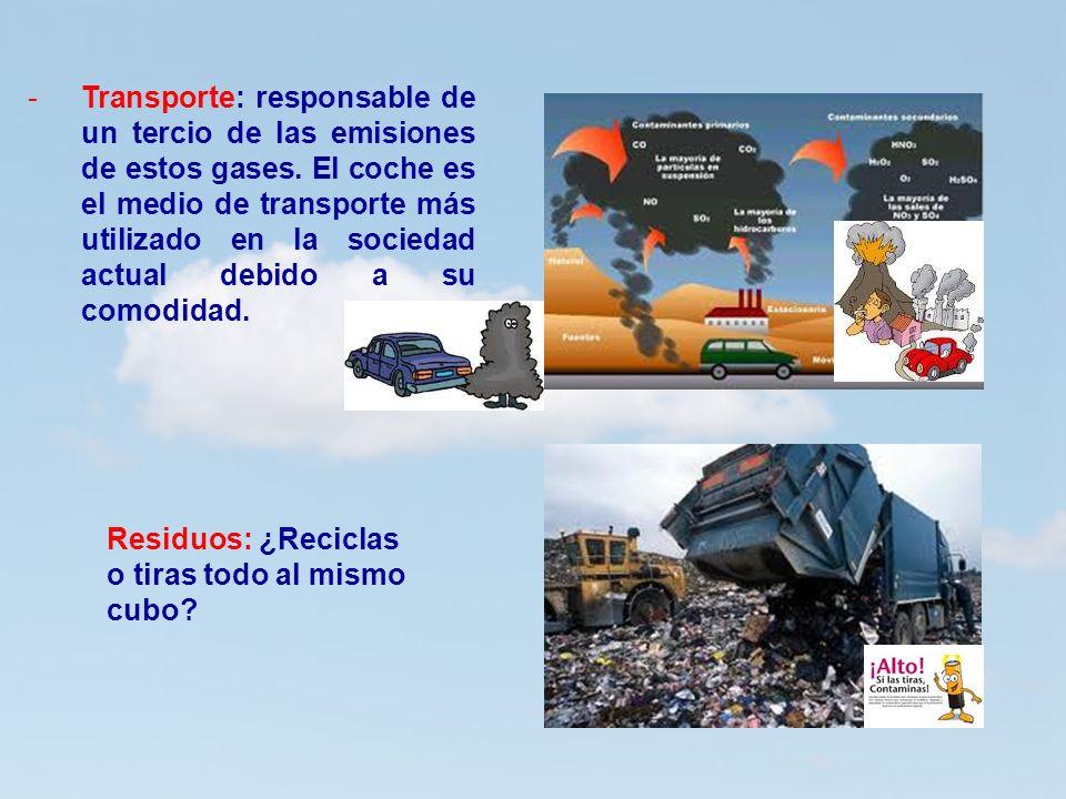 10 -Transporte: responsable de un tercio de las emisiones de estos gases. El coche es el medio de transporte más utilizado en la sociedad actual debid
