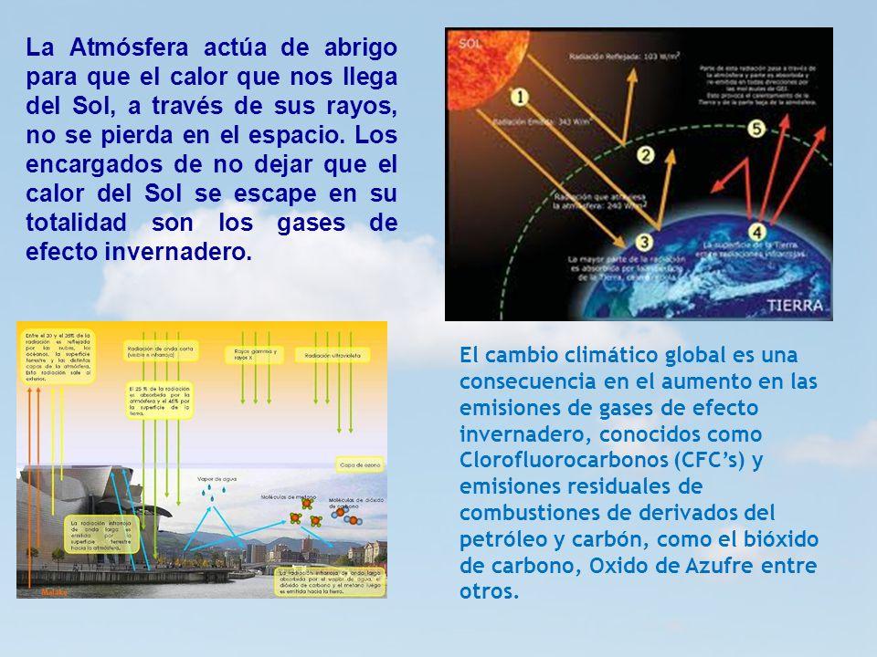 6 6 La Atmósfera actúa de abrigo para que el calor que nos llega del Sol, a través de sus rayos, no se pierda en el espacio. Los encargados de no deja