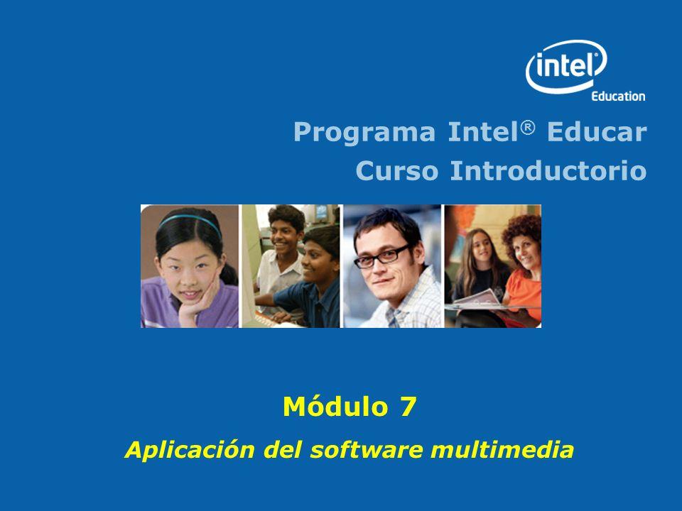 Programa Intel ® Educar - Curso Introductorio Módulo 8 2 Objetivos Aplicar sus habilidades con multimedia en la selección y realización de por lo menos una actividad optativa relevante Identificar los recursos que incluye la Guía de Ayuda.