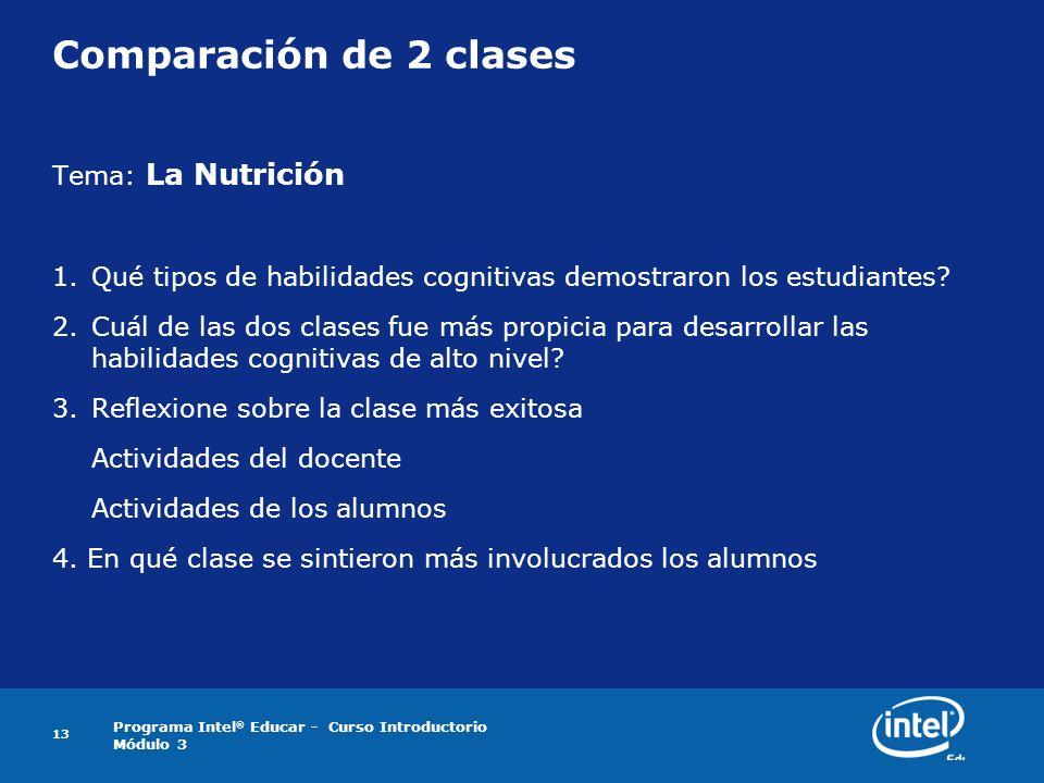 Programa Intel ® Educar - Curso Introductorio Módulo 3 13 Comparación de 2 clases Tema: La Nutrición 1.Qué tipos de habilidades cognitivas demostraron