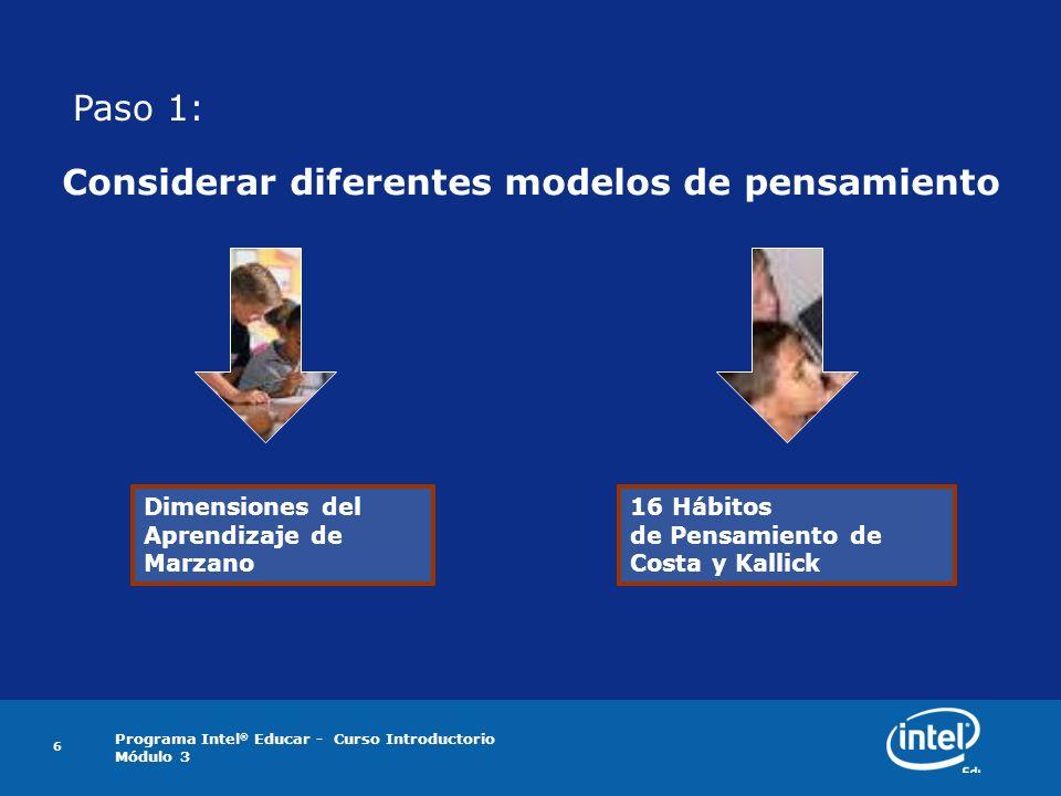 Programa Intel ® Educar - Curso Introductorio Módulo 3 6 Considerar diferentes modelos de pensamiento Dimensiones del Aprendizaje de Marzano 16 Hábito