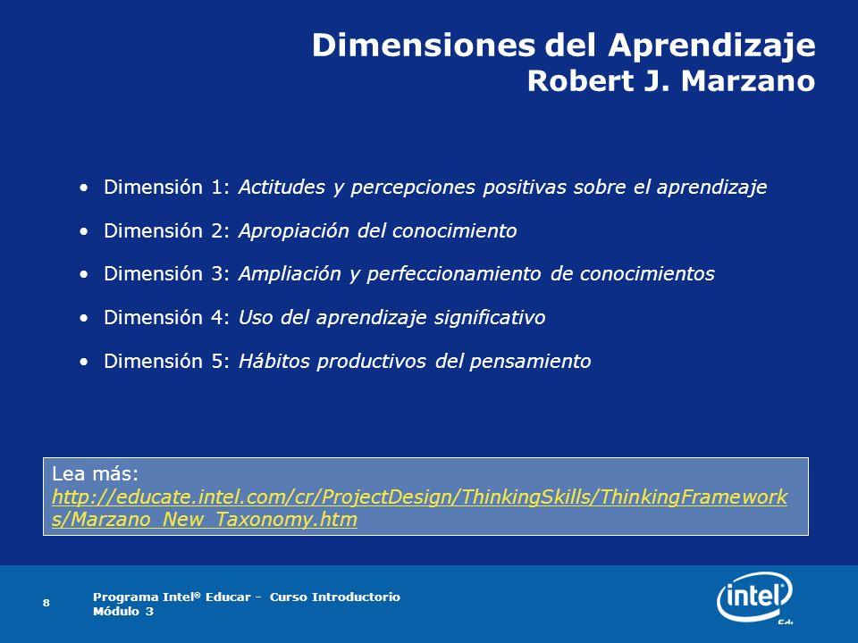 Programa Intel ® Educar - Curso Introductorio Módulo 3 8 Dimensiones del Aprendizaje Robert J. Marzano Dimensión 1: Actitudes y percepciones positivas