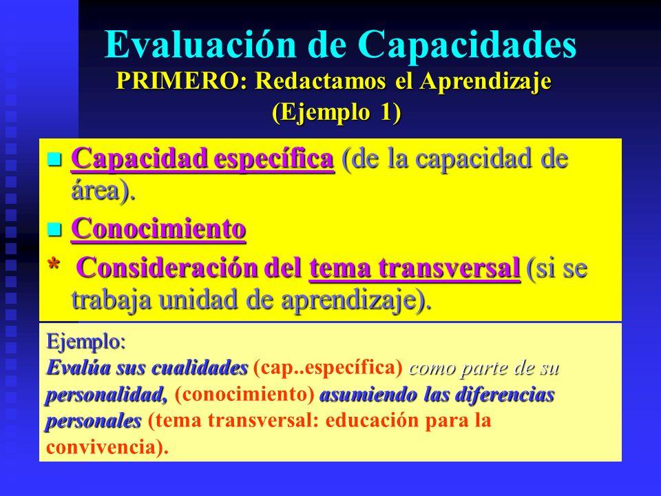 Evaluación de Capacidades Capacidad específica (de la capacidad de área). Capacidad específica (de la capacidad de área). Conocimiento Conocimiento *