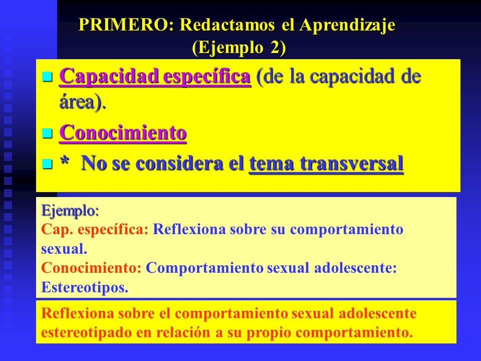 Ejemplo: Cap. específica: Reflexiona sobre su comportamiento sexual. Conocimiento: Comportamiento sexual adolescente: Estereotipos. Reflexiona sobre e