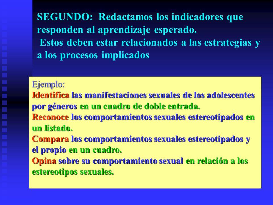 Ejemplo: Identifica las manifestaciones sexuales de los adolescentes por géneros en un cuadro de doble entrada. Reconoce los comportamientos sexuales