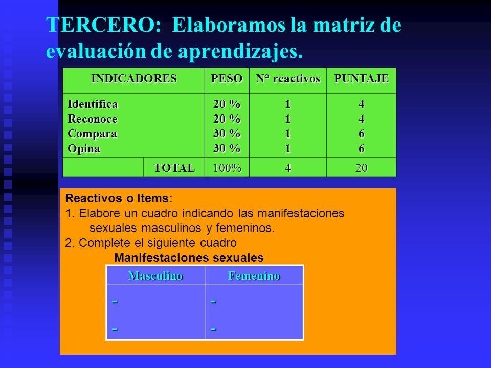 TERCERO: Elaboramos la matriz de evaluación de aprendizajes. INDICADORESPESO N° reactivos PUNTAJE IdentificaReconoceComparaOpina 20 % 30 % 11114466 TO