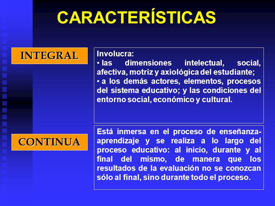 INTEGRAL Involucra: las dimensiones intelectual, social, afectiva, motriz y axiológica del estudiante; a los demás actores, elementos, procesos del si