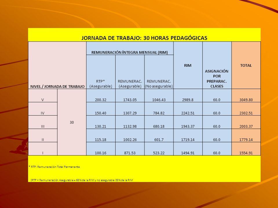 JORNADA DE TRABAJO: 30 HORAS PEDAGÓGICAS NIVEL / JORNADA DE TRABAJO REMUNERACIÓN ÍNTEGRA MENSUAL (RIM) RIM ASIGNACIÓN POR PREPARAC. CLASES TOTAL RTP*