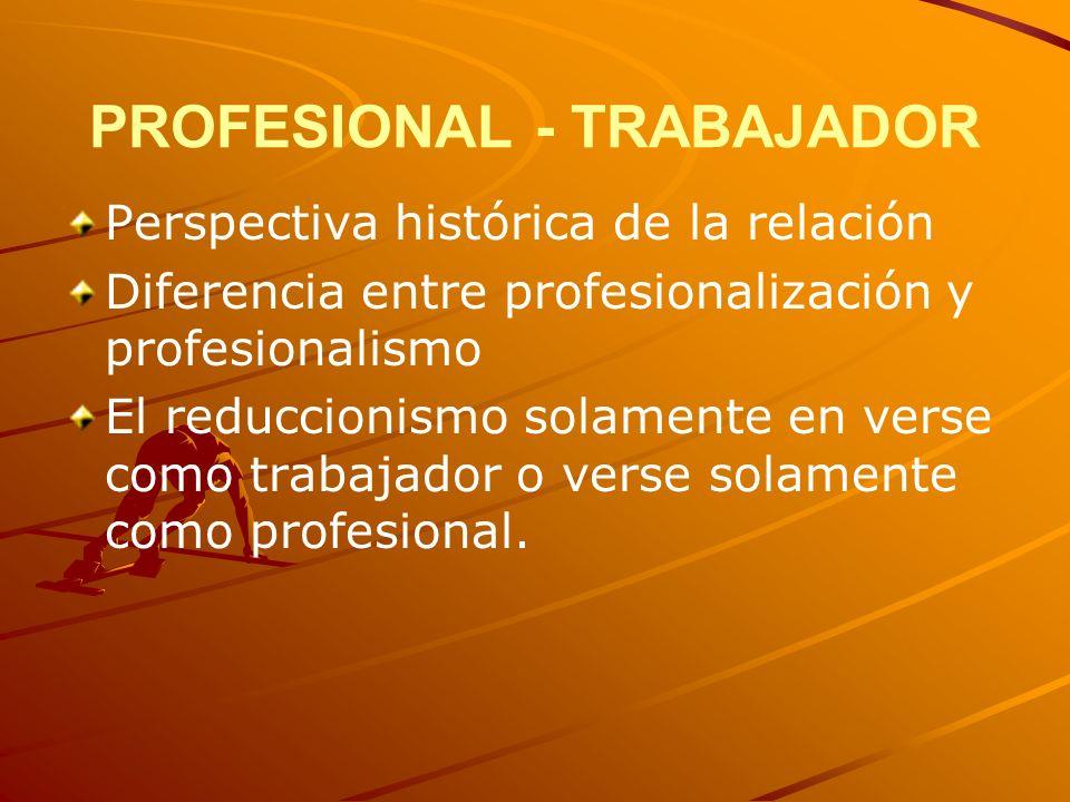 PROFESIONAL - TRABAJADOR Perspectiva histórica de la relación Diferencia entre profesionalización y profesionalismo El reduccionismo solamente en vers