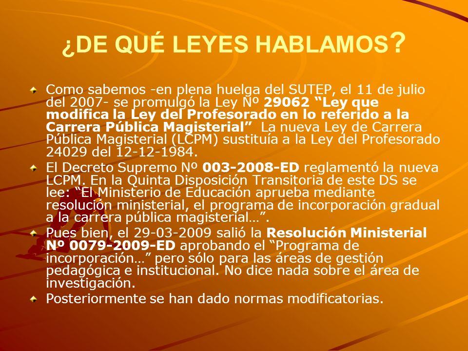 ¿DE QUÉ LEYES HABLAMOS ? Como sabemos -en plena huelga del SUTEP, el 11 de julio del 2007- se promulgó la Ley Nº 29062 Ley que modifica la Ley del Pro