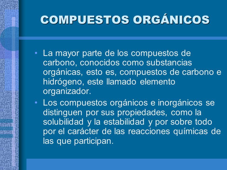 COMPUESTOS ORGÁNICOS La mayor parte de los compuestos de carbono, conocidos como substancias orgánicas, esto es, compuestos de carbono e hidrógeno, es