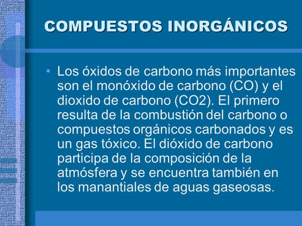 COMPUESTOS INORGÁNICOS Los óxidos de carbono más importantes son el monóxido de carbono (CO) y el dioxido de carbono (CO2). El primero resulta de la c